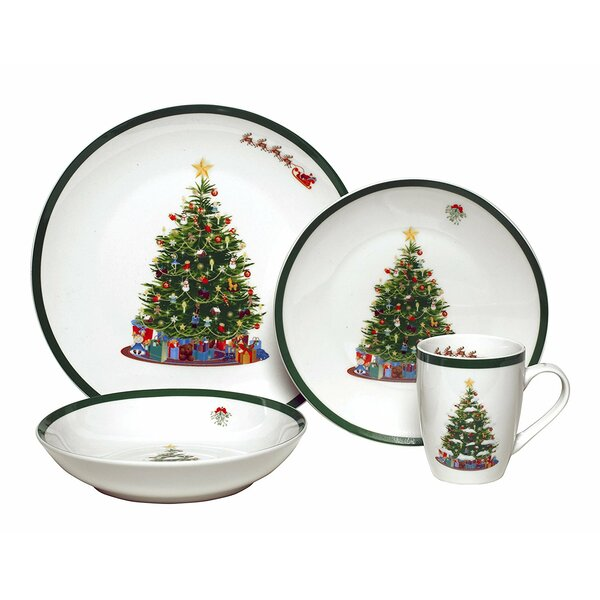 Vintage Christmas Tree Porcelain Coupe 16 Piece Dinnerware Set by The Holiday Aisle