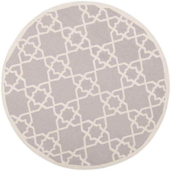 Dhurries Hand-Woven Wool Purple/Ivory Area Rug by Safavieh