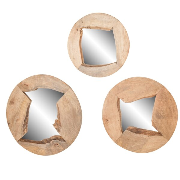 3 Piece Tyringham Round Wood Mirror Set by Union Rustic