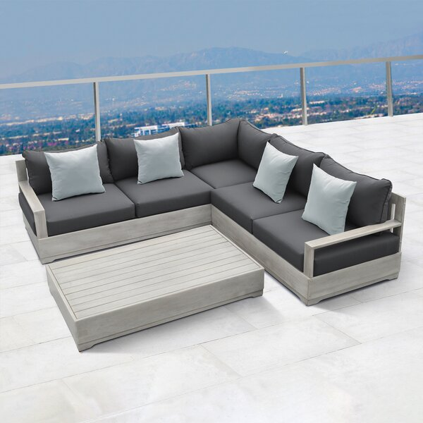 Hillcrest 4 Piece Sectional Seating Group with Cushions by Martha Stewart