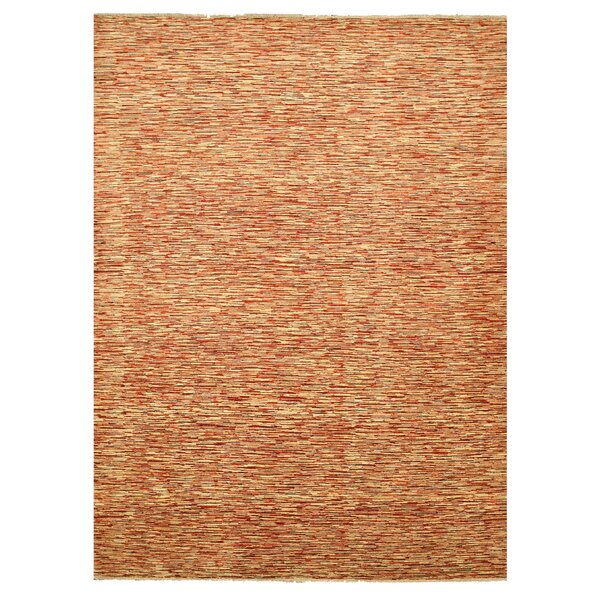 Mauganj Hand-Knotted Orange Area Rug by Meridian Rugmakers
