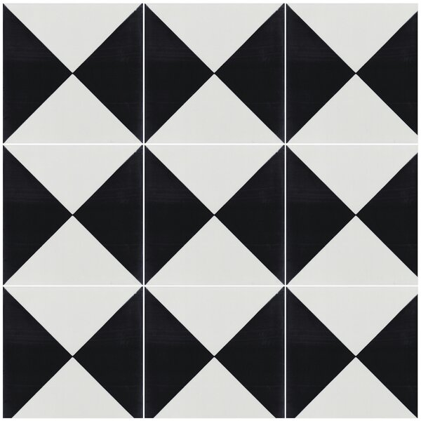 Tugboat 8 x 8 Cement Field Tile in Black/White by Villa Lagoon Tile