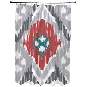 red and teal shower curtain. Oliver Original Geometric Print Shower Curtain Ikat Curtains You ll Love  Wayfair