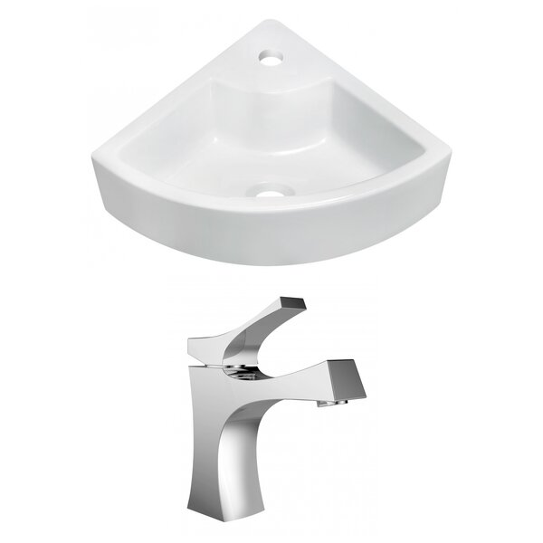 Ceramic 27 Wall Mount Bathroom Sink with Faucet