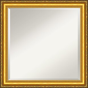 Amanti Art Colonial Embossed Gold Square Wall Mirror