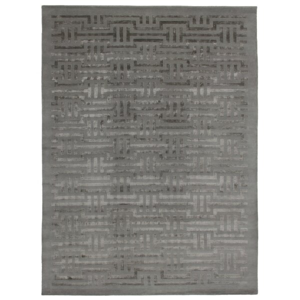 Super Tibetan Hand Knotted Wool/Silk Blue Area Rug by Exquisite Rugs