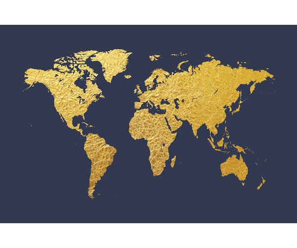 World Map Series: Gold Foil On Denim Graphic Art on Wrapped Canvas by East Urban Home