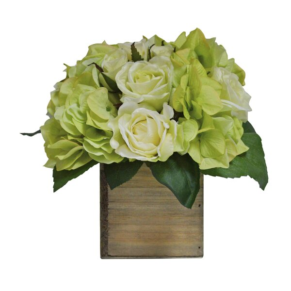 Hydrangea Mix in Natural Wooden Box by Laurel Foundry Modern Farmhouse