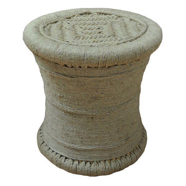 Ouindo All Wrapped Jute Accent Stool by Bungalow Rose