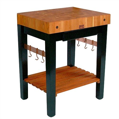 Rouge et Noir Prep Table with Butcher Block Top by John Boos