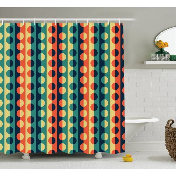 Striped Half-pattern Ring Decor Shower Curtain by East Urban Home