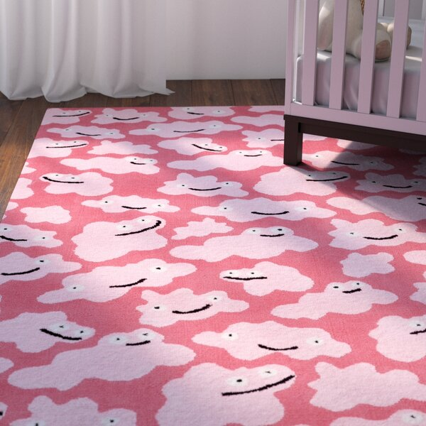 Daisy Sky Puffy Machine Woven Pink Area Rug by Viv + Rae