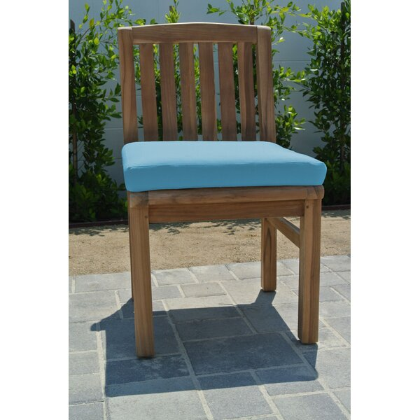 Crescio Armless Teak Patio Dining Chair with Cushion by Foundry Select