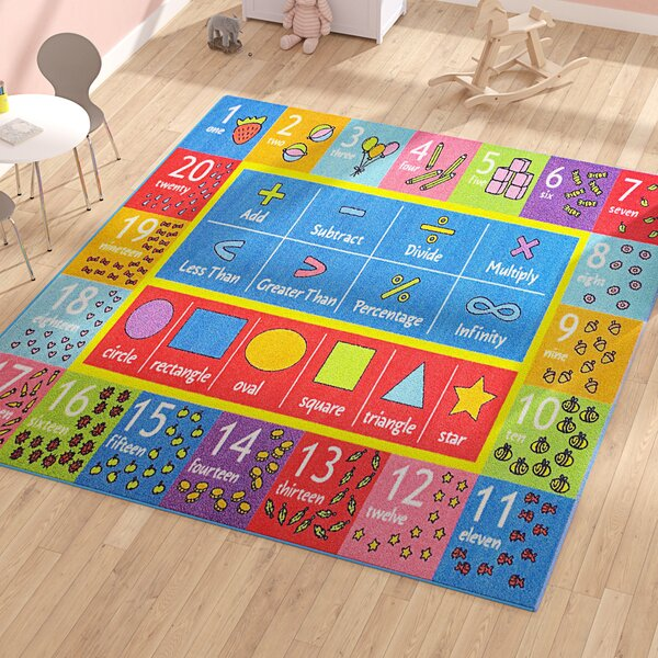 Weranna Math Symbols Numbers and Shapes Educational Learning Blue/Red Indoor/Outdoor Area Rug by Zoomie Kids