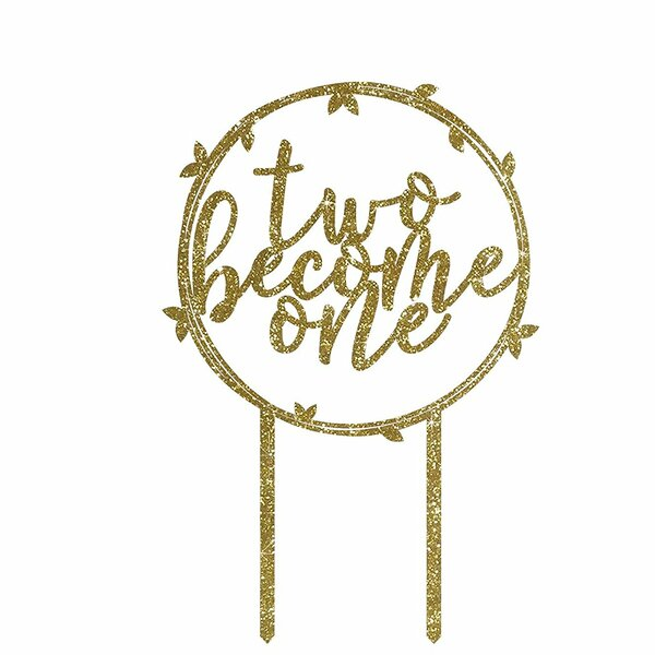 Two Become One Gold Glitter Acrylic Cake Topper by Koyal Wholesale