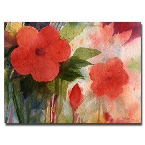 'Red Blossoms' by Sheila Golden Framed Painting Print on Wrapped Canvas by Trademark Fine Art