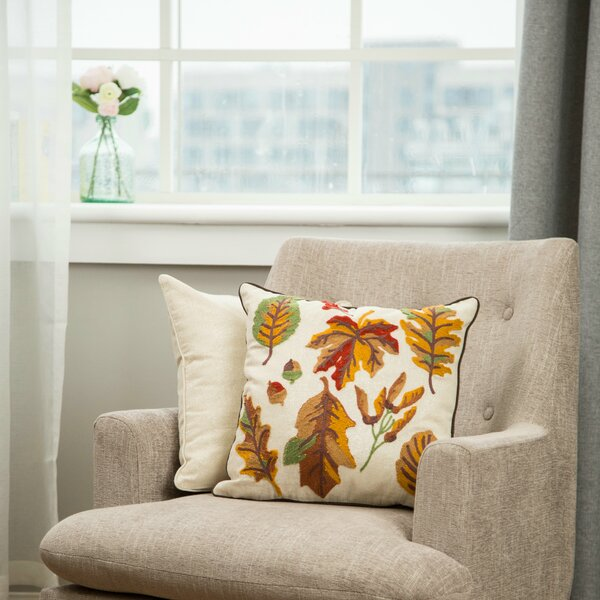 Renee Embroidered Fall Leaves Throw Pillow by Charlton Home