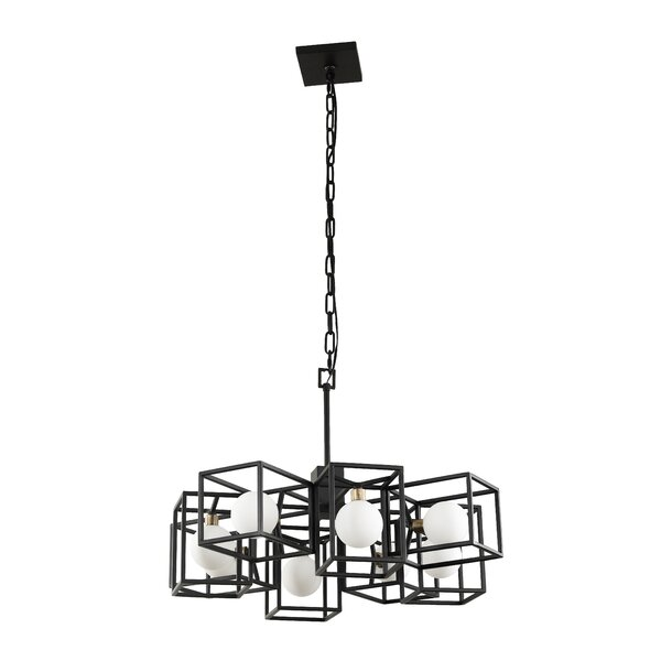 ConCourse 8 - Light Unique / Statement Rectangle / Square Chandelier with Crystal Accents by Williston Forge Williston Forge