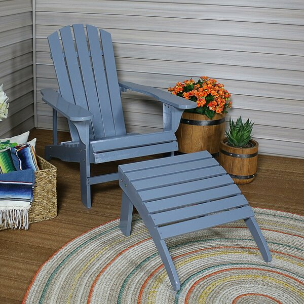 Shultz Classic Solid Wood Adirondack Chair with Ottoman by Breakwater Bay Breakwater Bay