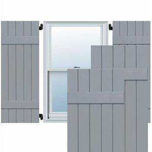 Exterior 5 Composite Wood Board-N-Batten Shutter (Set of 2)