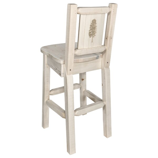 Haleigh 30 Barstool with Back and Laser Engraved Pine Tree Design by Mistana