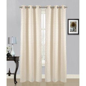 Swirl Geometric Semi-Sheer Grommet Curtain panels