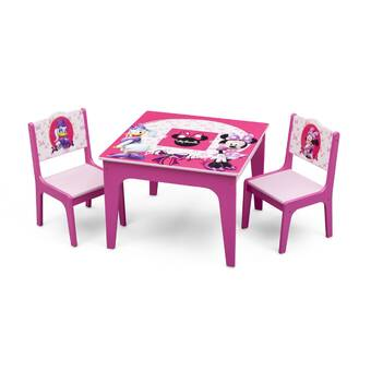 Delta Children Minnie Mouse Kids 3 Piece Writing Table And Chair