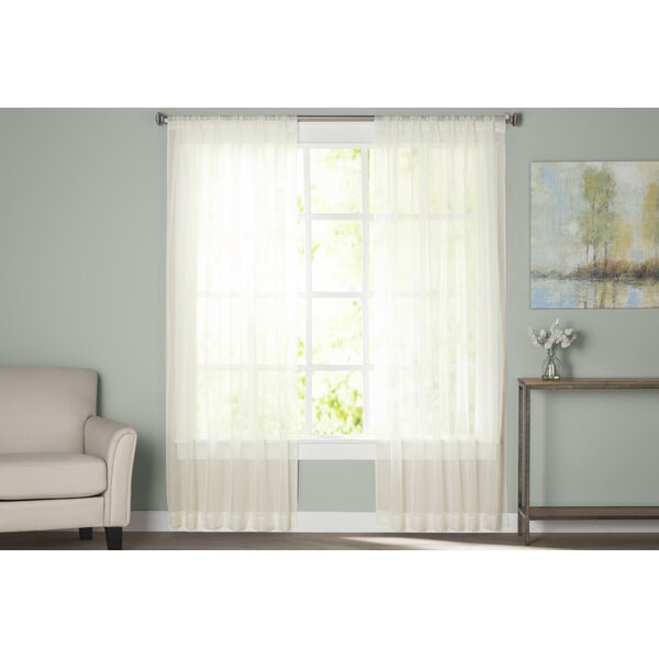 Wayfair Basics Solid Sheer Rod Pocket Curtain Panels Set Of 2 By Wayfair Basics.