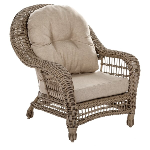 Ophlie Outdoor Garden Cappuccino Patio Chair with Cushions by One Allium Way One Allium Way
