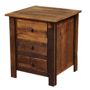 Barnwood 3 Drawer Nightstand by Firesi..