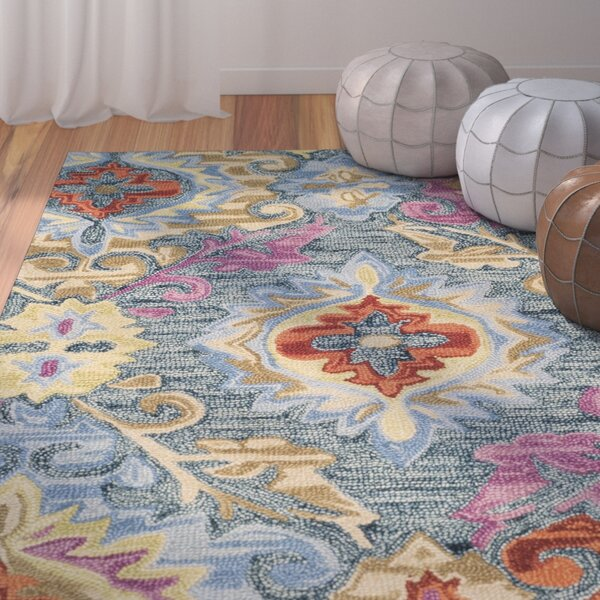 Tomo Hand-Hooked Blue/Yellow Area Rug by Bungalow Rose