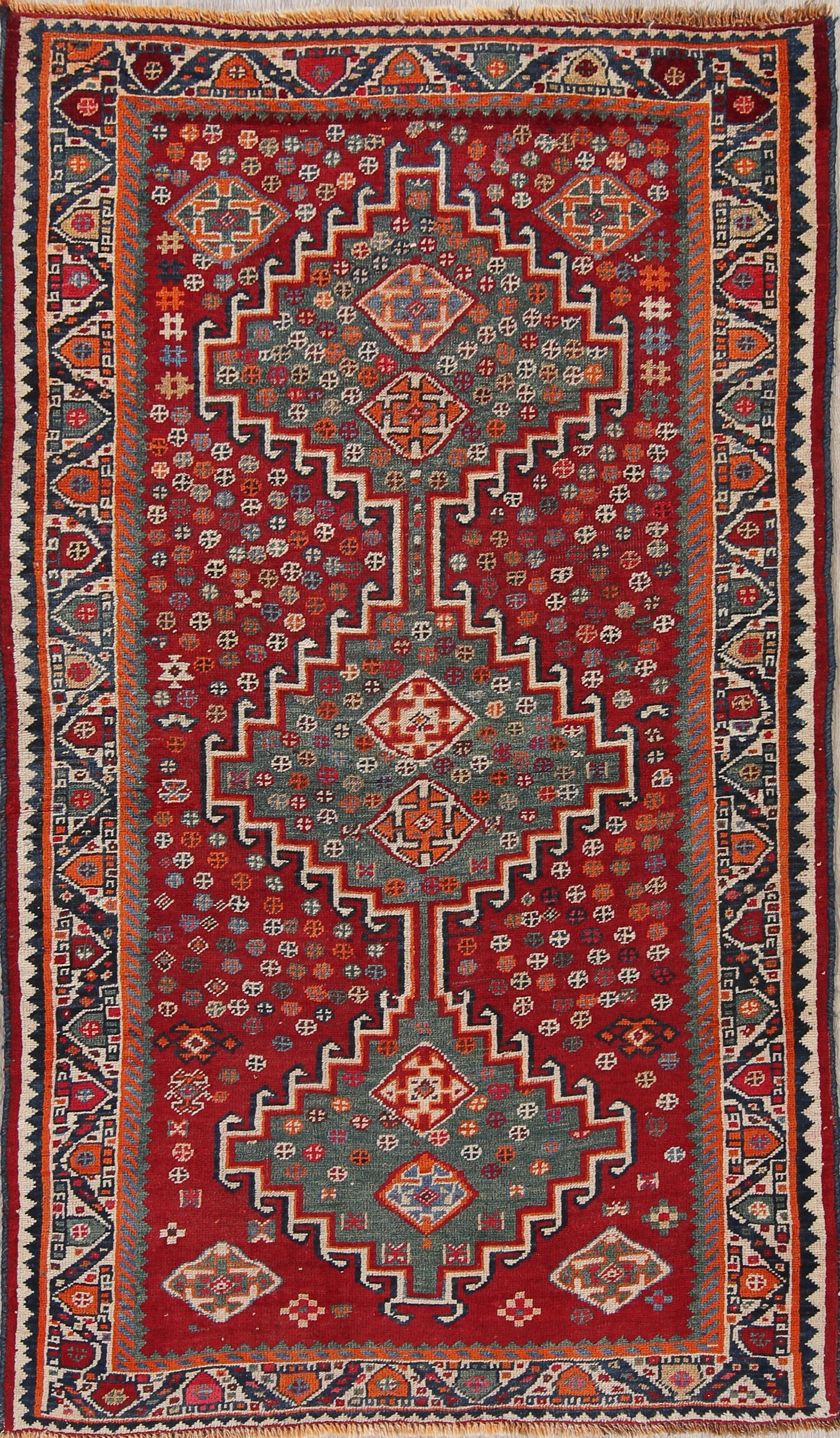 Geometric Tribal Red And Teal Green Antique Persian Rug One Of A Kind Wool 7 0 X4 0