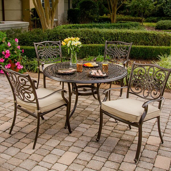 Carleton 5 Piece Dining Set with Cushions and Umbrella by Fleur De Lis Living