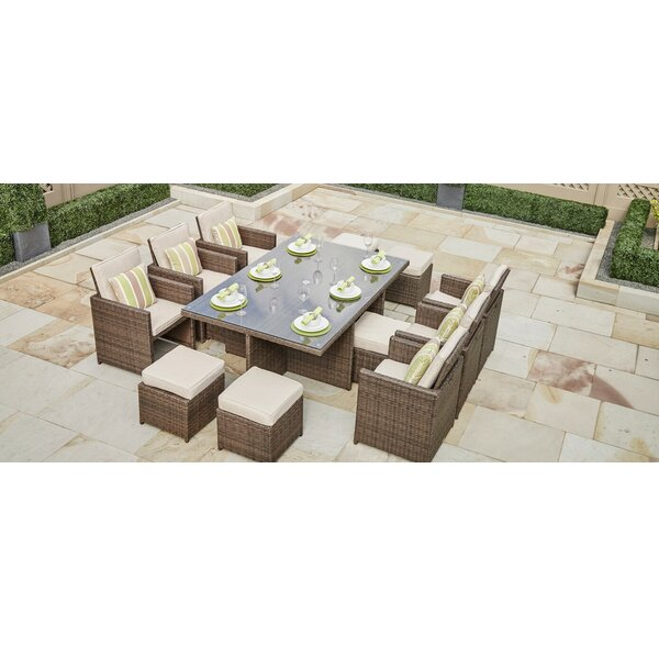 Frederica 11 Piece Dining Set with Cushions by Bayou Breeze