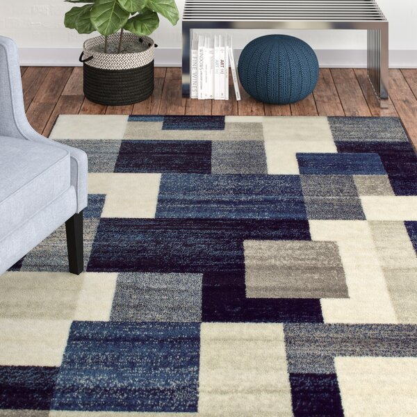 Taira Block Blue/Gray Area Rug by Orren Ellis