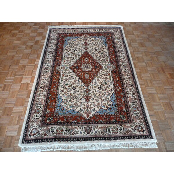 One-of-a-Kind Edinburgh Fine Design Hand-Knotted Wool Ivory/Red Area Rug by World Menagerie