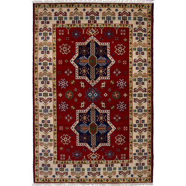 One-of-a-Kind Doering Hand-Knotted Red Area Rug by Isabelline