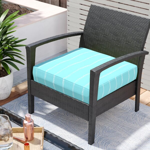 Balentine Dot Stripes Indoor/Outdoor Piped Dining Chair Cushion By Wade Logan