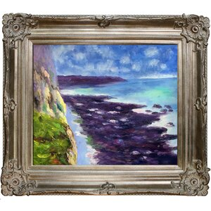 Cliff Near Dieppe by Claude Monet Framed Painting by Tori Home