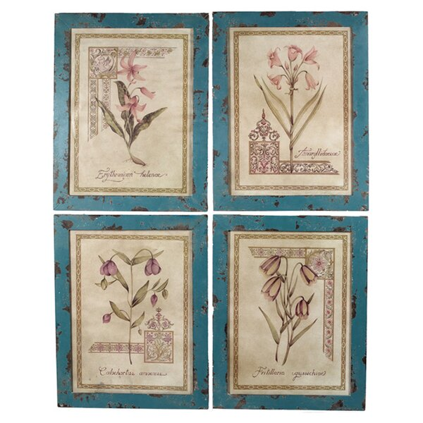 Straton 4 Piece Framed Painting Print on Wood Set by ESSENTIAL DÉCOR & BEYOND, INC