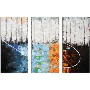 Blocks of Fire and Ice 3 Piece Painting on Canvas Set by Omax Decor
