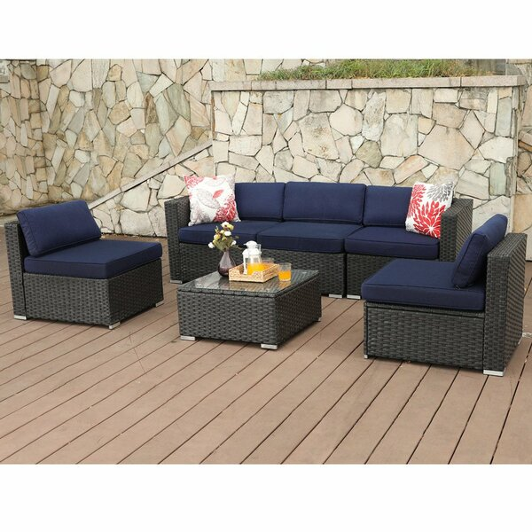 Soria Outdoor 6 Piece Rattan Sectional Seating Group with Cushions by Breakwater Bay