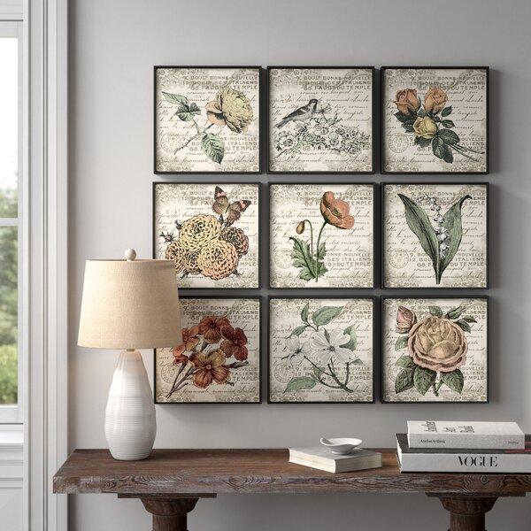 Set of 6 Ready to Hang French Vintage Botanical Artwork Prints on Burlap Canvas Wall Art Vintage Flower Illustration Home Decoration