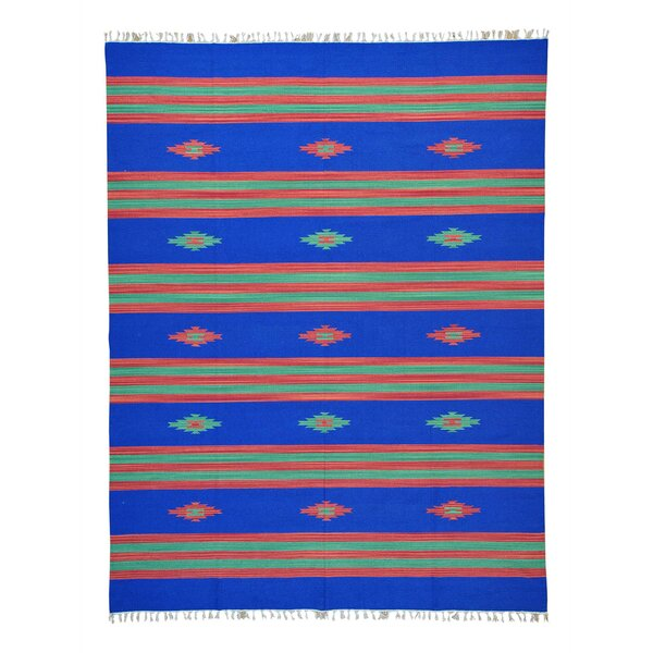 One-of-a-Kind Toups Flat Weave Killim Hand-Knotted Cotton Blue Area Rug by Millwood Pines