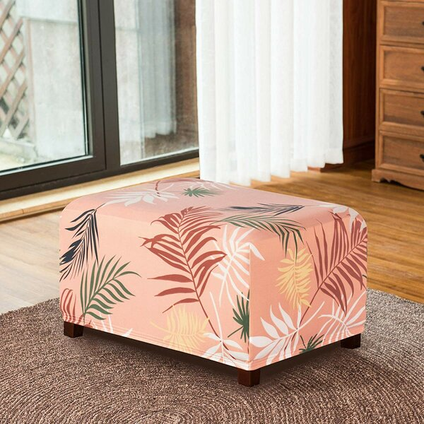 Leaves Printed Storage Rectangle Ottoman Slipcover By Symple Stuff