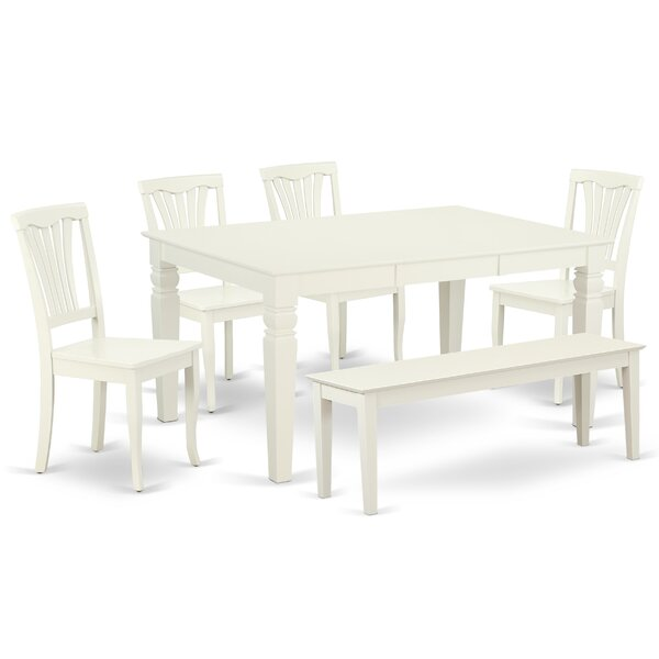 Landgraf 6 Piece Extendable Solid Wood Breakfast Nook Dining Set by August Grove August Grove