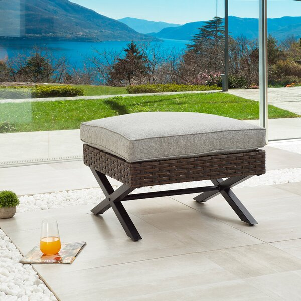 Rimersburg Outdoor Ottoman with Cushion by Latitude Run