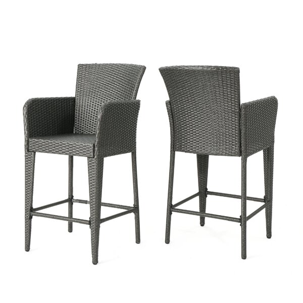 Eliason Outdoor Wicker 28 Patio Bar Stool (Set of 2) by Latitude Run