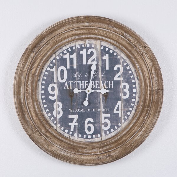 Oversized Brown Rustic Charm 27.75 Wall Clock by Rosecliff Heights