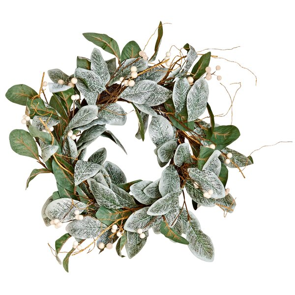 White Berry Magnolia 22 Polyester Wreath by The Holiday Aisle